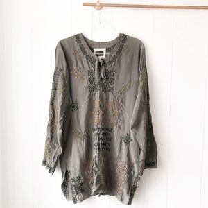 Biya Johnny Was Embroidered Silk Tunic Top